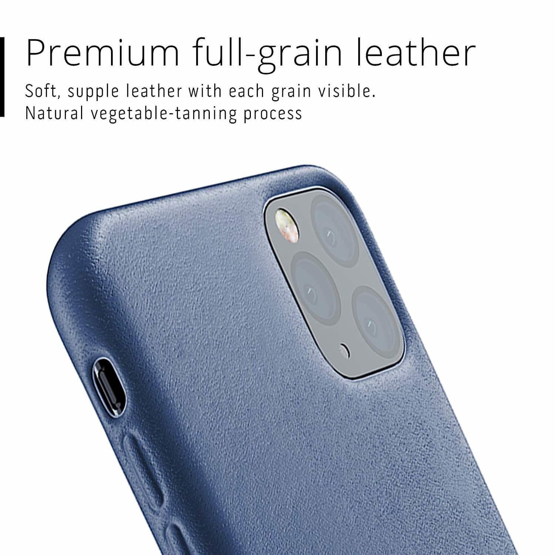 Mujjo Full Leather Case — кожен (естествена кожа) кейс за iPhone 11 Pro Max (син) - 3