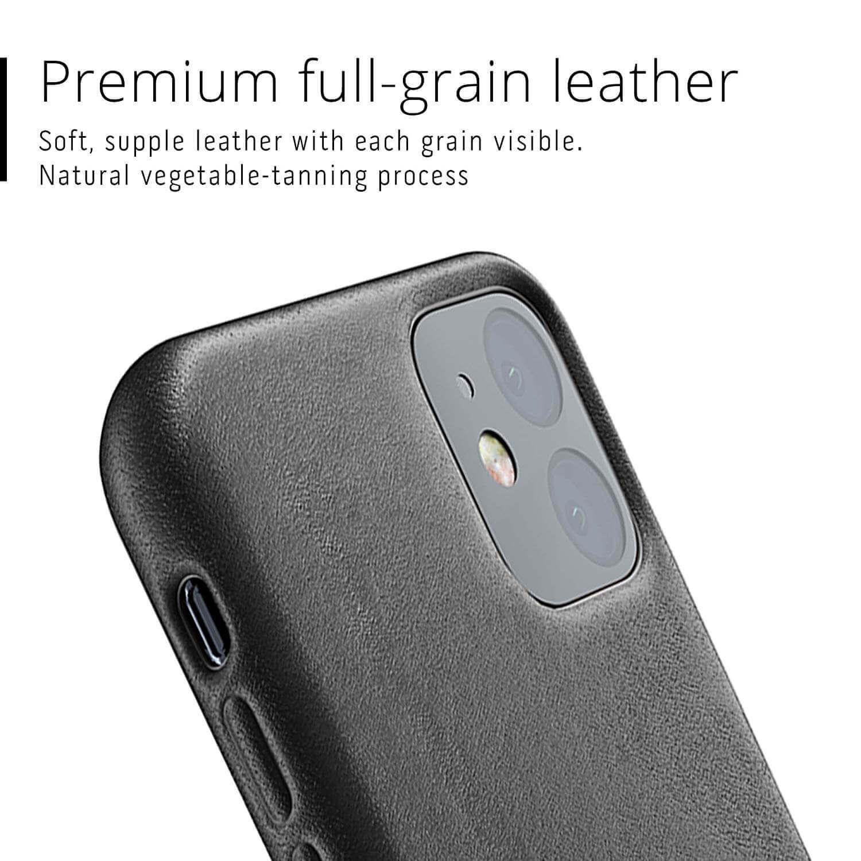 Mujjo Full Leather Case — кожен (естествена кожа) кейс за iPhone 11 (черен) - 5