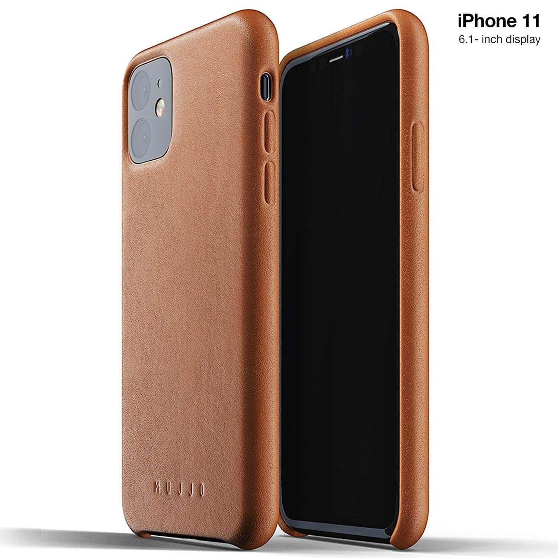 Mujjo Full Leather Case — кожен (естествена кожа) кейс за iPhone 11 (кафяв) - 1