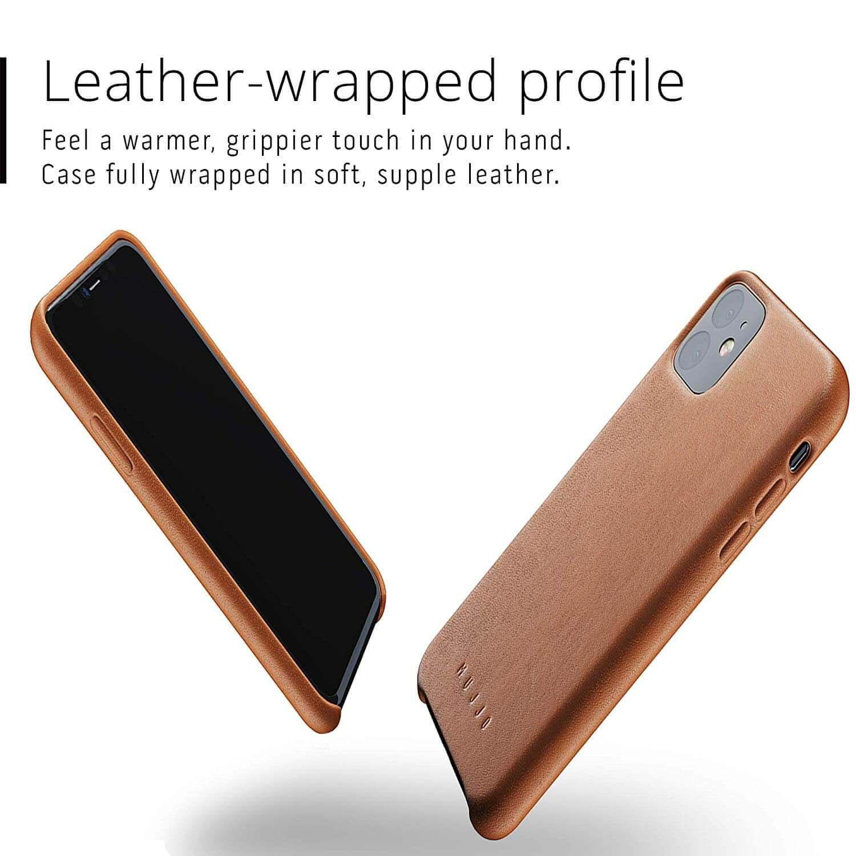 Mujjo Full Leather Case — кожен (естествена кожа) кейс за iPhone 11 (кафяв) - 5