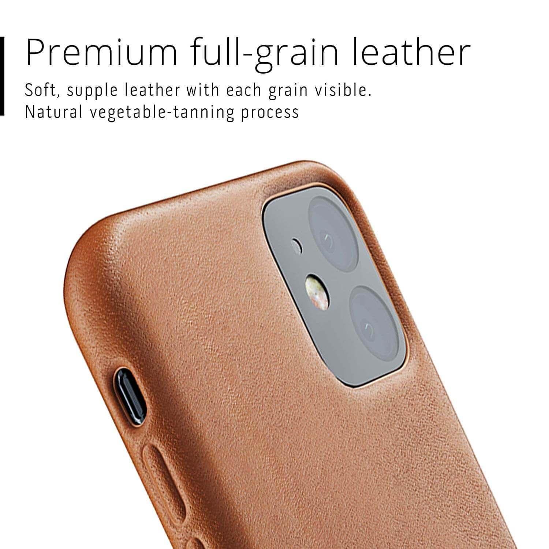 Mujjo Full Leather Case — кожен (естествена кожа) кейс за iPhone 11 (кафяв) - 2