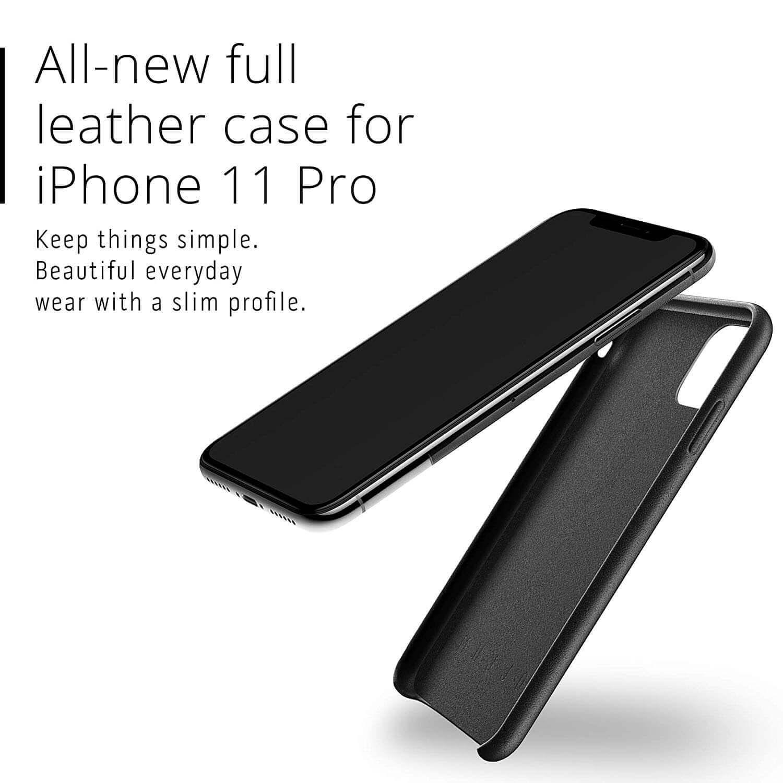 Mujjo Full Leather Case — кожен (естествена кожа) кейс за iPhone 11 Pro (черен) - 2