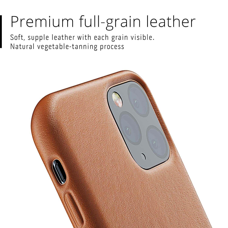 Mujjo Full Leather Case — кожен (естествена кожа) кейс за iPhone 11 Pro (кафяв) - 3