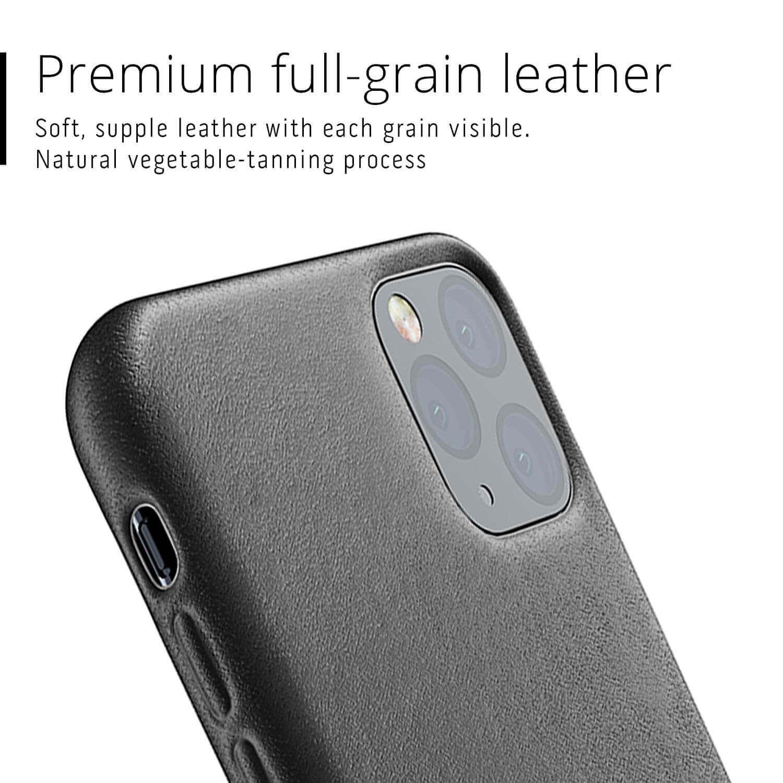 Mujjo Full Leather Case — кожен (естествена кожа) кейс за iPhone 11 Pro Max (черен) - 4