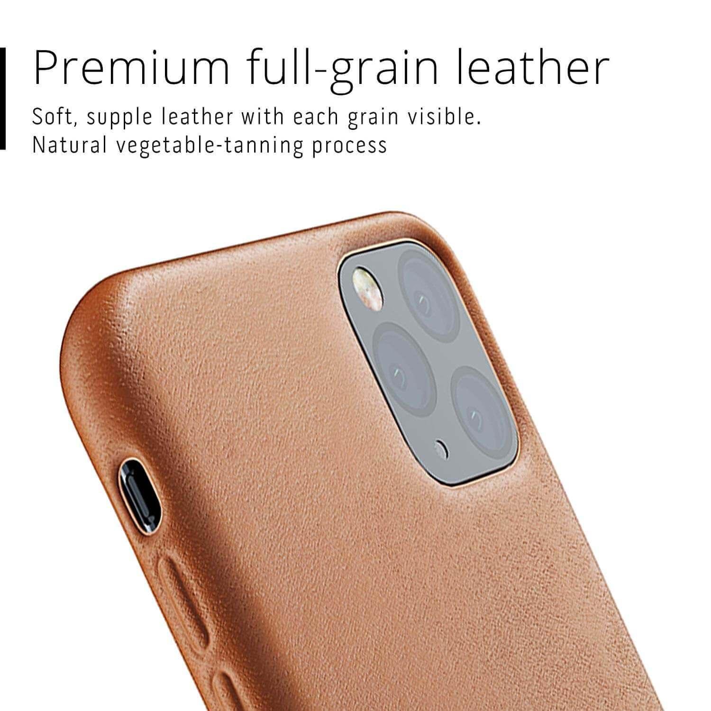 Mujjo Full Leather Case — кожен (естествена кожа) кейс за iPhone 11 Pro Max (кафяв) - 2