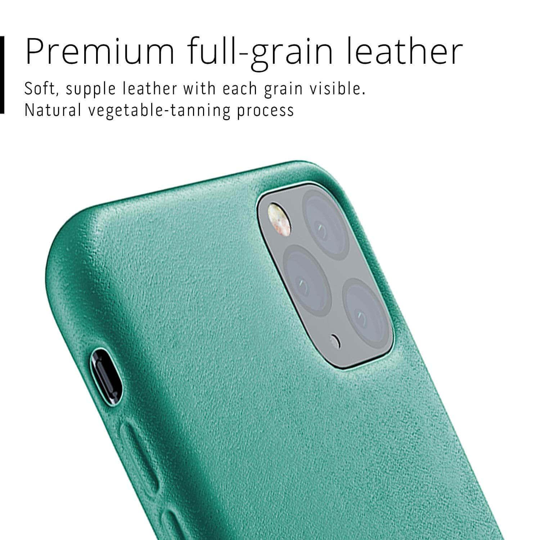 Mujjo Full Leather Case — кожен (естествена кожа) кейс за iPhone 11 Pro Max (зелен) - 4
