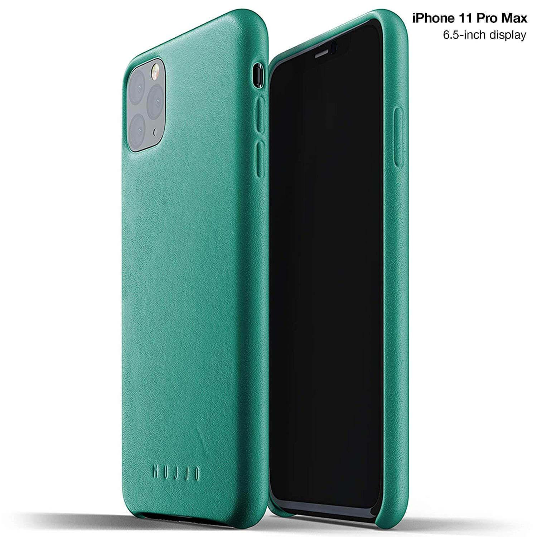 Mujjo Full Leather Case — кожен (естествена кожа) кейс за iPhone 11 Pro Max (зелен) - 1