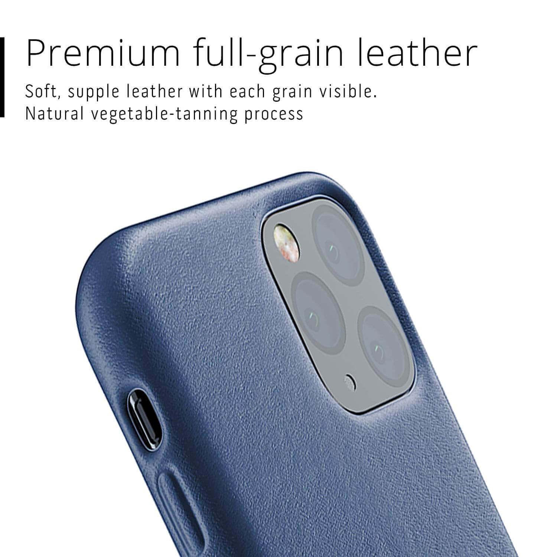Mujjo Full Leather Case — кожен (естествена кожа) кейс за iPhone 11 Pro (син) - 4