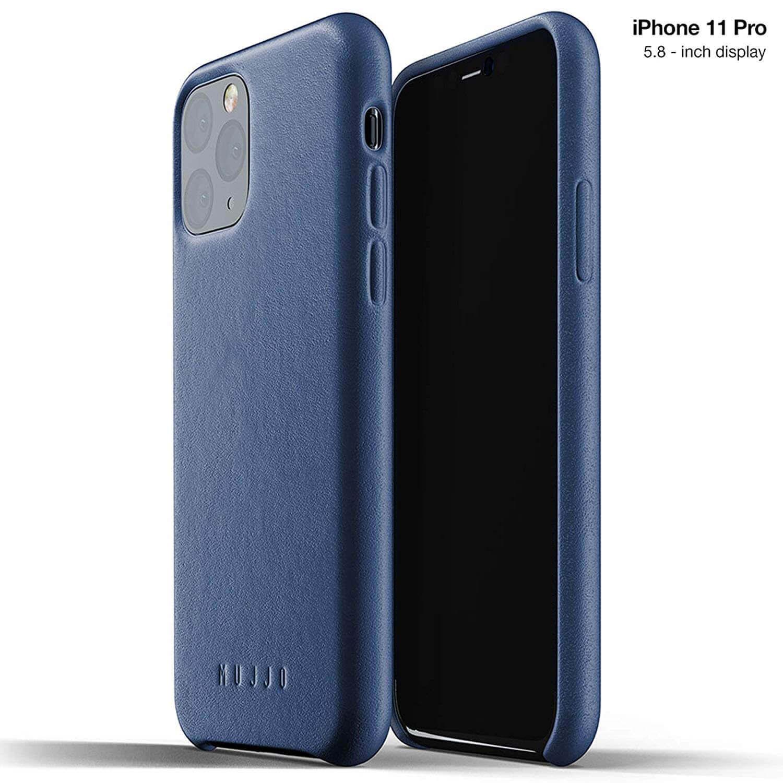 Mujjo Full Leather Case — кожен (естествена кожа) кейс за iPhone 11 Pro (син) - 1