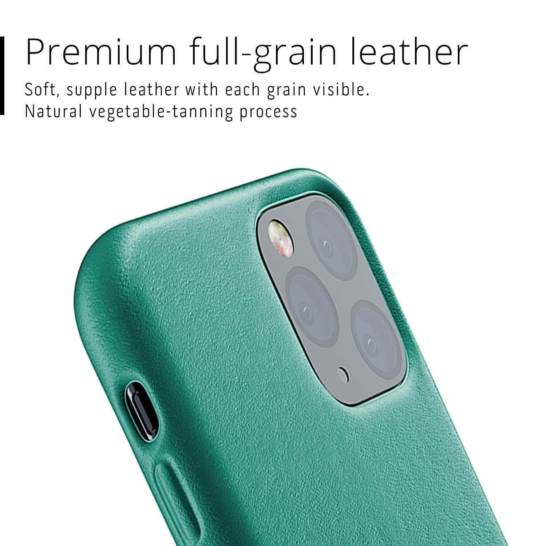 Mujjo Full Leather Case — кожен (естествена кожа) кейс за iPhone 11 Pro (зелен) - 5
