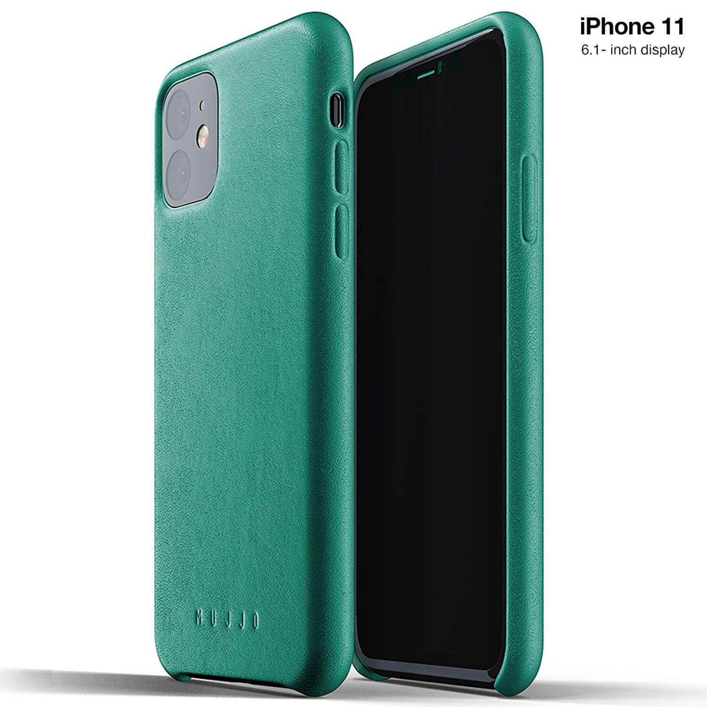 Mujjo Full Leather Case — кожен (естествена кожа) кейс за iPhone 11 (зелен) - 1