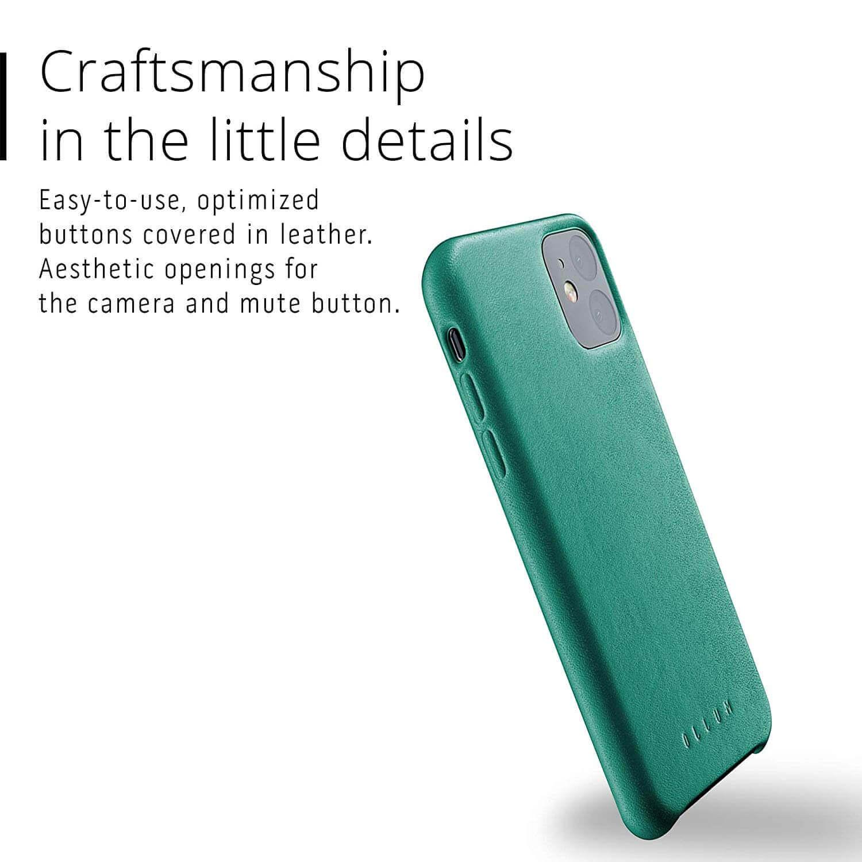 Mujjo Full Leather Case — кожен (естествена кожа) кейс за iPhone 11 (зелен) - 5
