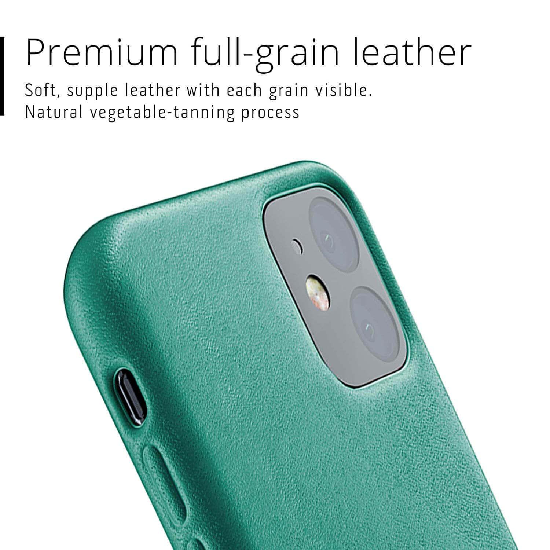 Mujjo Full Leather Case — кожен (естествена кожа) кейс за iPhone 11 (зелен) - 4