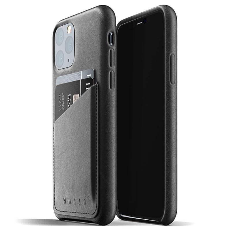 Mujjo Leather Wallet Case — кожен (естествена кожа) кейс с джоб за кредитна карта за iPhone 11 Pro (черен) - 1