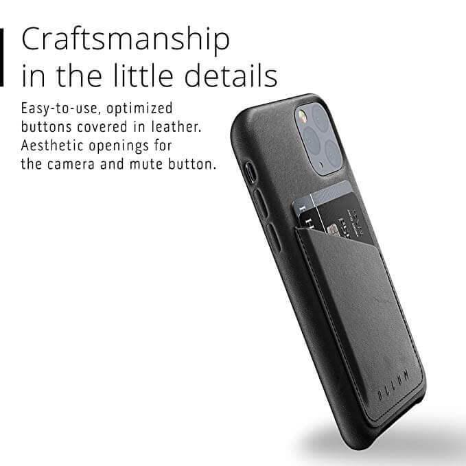 Mujjo Leather Wallet Case — кожен (естествена кожа) кейс с джоб за кредитна карта за iPhone 11 Pro (черен) - 4
