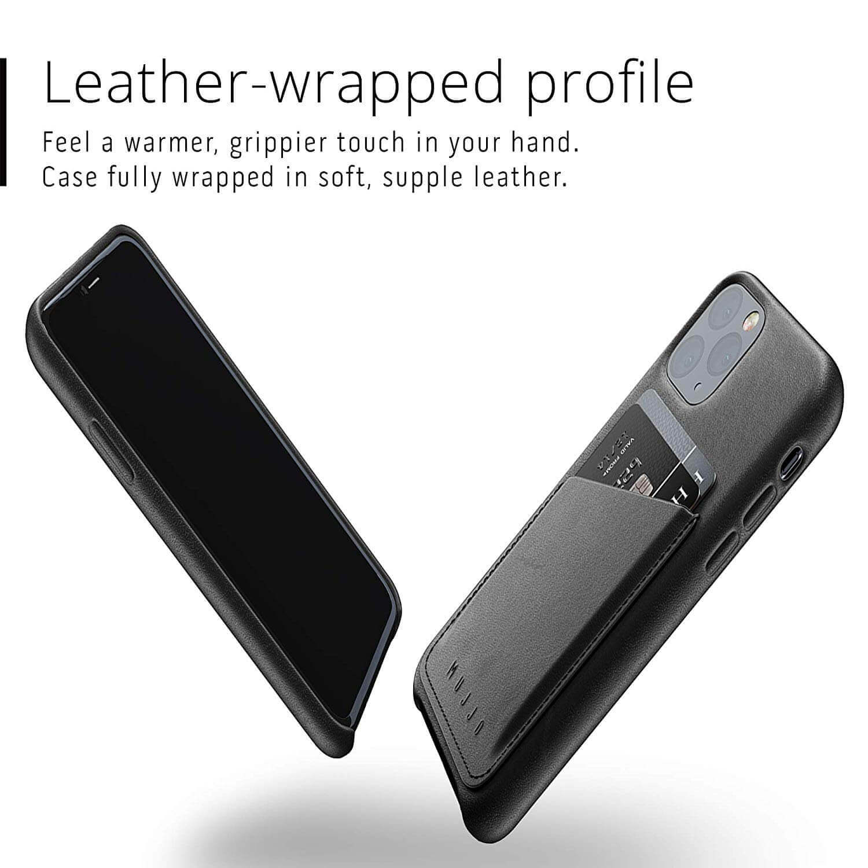 Mujjo Leather Wallet Case — кожен (естествена кожа) кейс с джоб за кредитна карта за iPhone 11 Pro (черен) - 3
