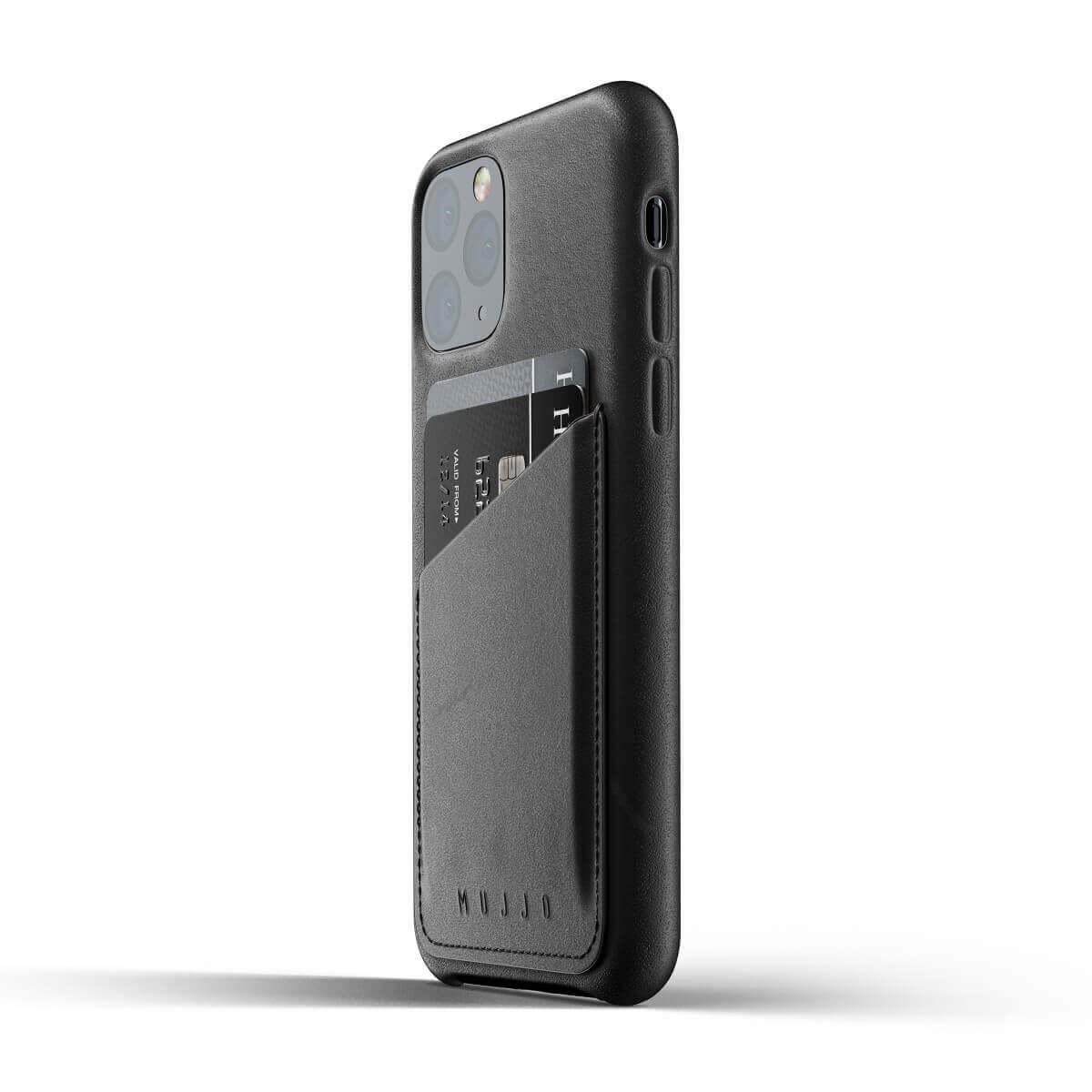 Mujjo Leather Wallet Case — кожен (естествена кожа) кейс с джоб за кредитна карта за iPhone 11 Pro (черен) - 5