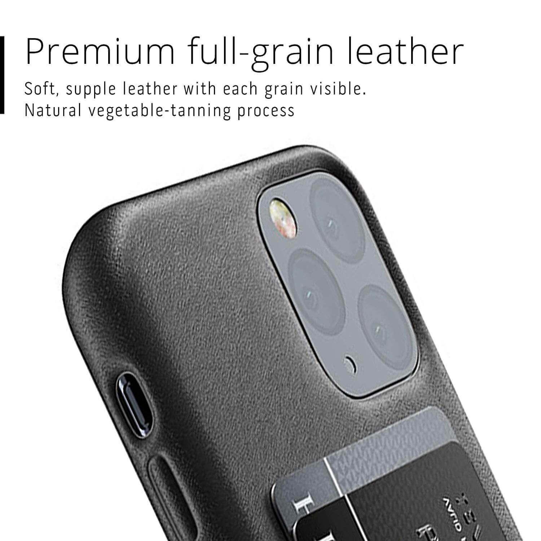 Mujjo Leather Wallet Case — кожен (естествена кожа) кейс с джоб за кредитна карта за iPhone 11 Pro (черен) - 2