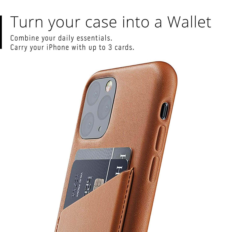 Mujjo Leather Wallet Case — кожен (естествена кожа) кейс с джоб за кредитна карта за iPhone 11 Pro (кафяв) - 4
