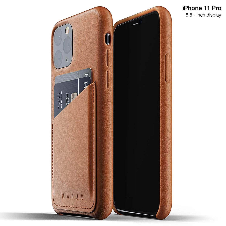 Mujjo Leather Wallet Case — кожен (естествена кожа) кейс с джоб за кредитна карта за iPhone 11 Pro (кафяв) - 1