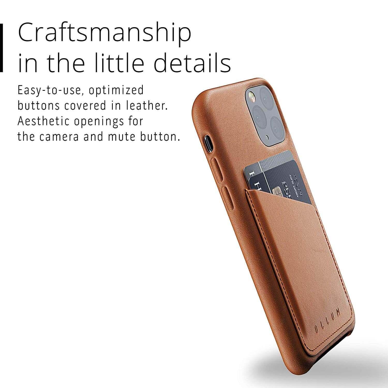 Mujjo Leather Wallet Case — кожен (естествена кожа) кейс с джоб за кредитна карта за iPhone 11 Pro (кафяв) - 2