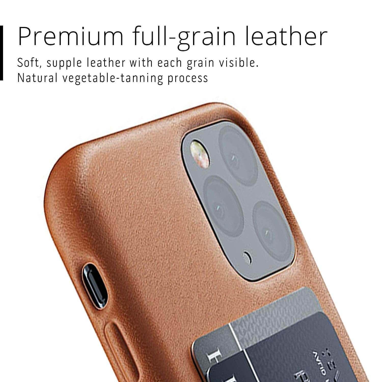 Mujjo Leather Wallet Case — кожен (естествена кожа) кейс с джоб за кредитна карта за iPhone 11 Pro (кафяв) - 3