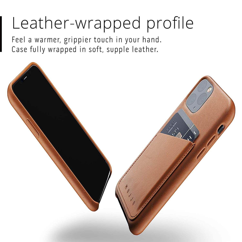Mujjo Leather Wallet Case — кожен (естествена кожа) кейс с джоб за кредитна карта за iPhone 11 Pro (кафяв) - 5