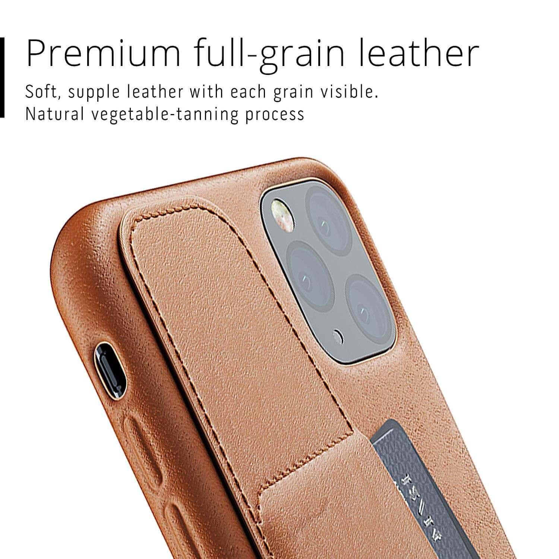 Mujjo Leather Wallet Case — кожен (естествена кожа) кейс с джоб за кредитна карта за iPhone 11 Pro Max (кафяв) - 5