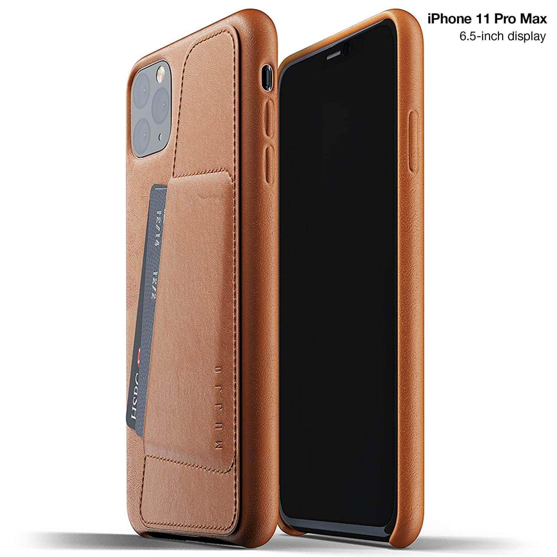 Mujjo Leather Wallet Case — кожен (естествена кожа) кейс с джоб за кредитна карта за iPhone 11 Pro Max (кафяв) - 1