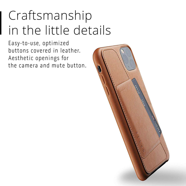 Mujjo Leather Wallet Case — кожен (естествена кожа) кейс с джоб за кредитна карта за iPhone 11 Pro Max (кафяв) - 2