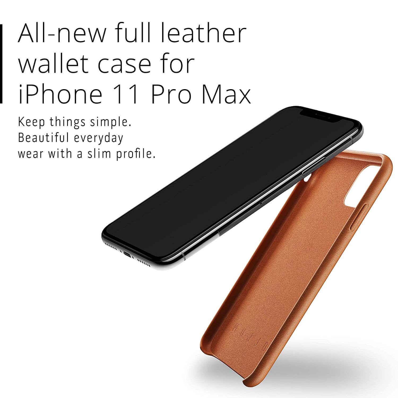 Mujjo Leather Wallet Case — кожен (естествена кожа) кейс с джоб за кредитна карта за iPhone 11 Pro Max (кафяв) - 3