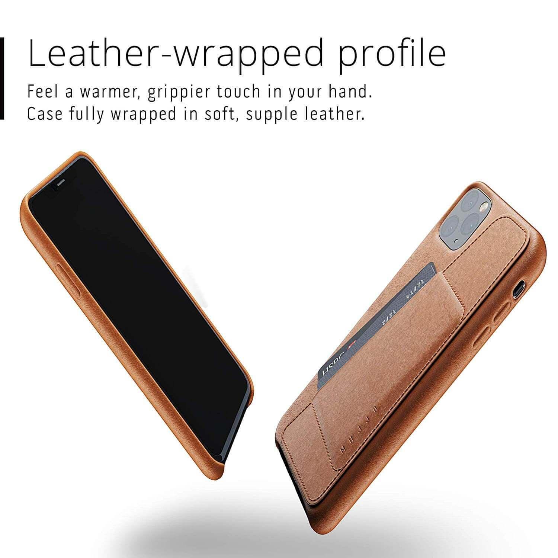 Mujjo Leather Wallet Case — кожен (естествена кожа) кейс с джоб за кредитна карта за iPhone 11 Pro Max (кафяв) - 4