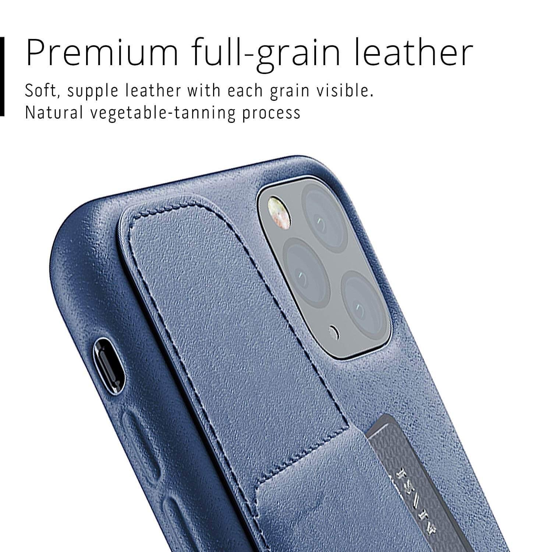 Mujjo Leather Wallet Case — кожен (естествена кожа) кейс с джоб за кредитна карта за iPhone 11 Pro Max (син) - 3