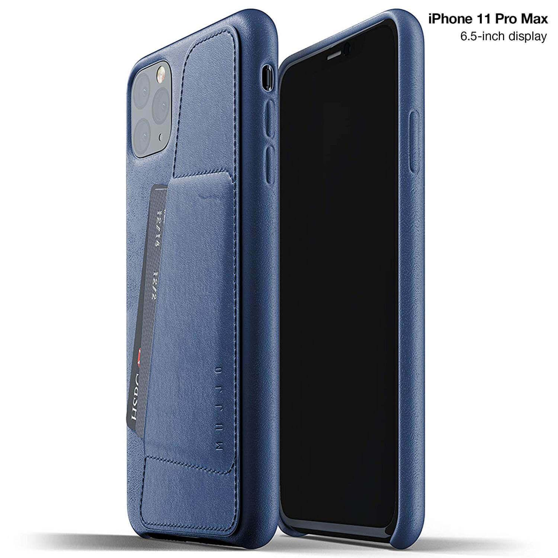 Mujjo Leather Wallet Case — кожен (естествена кожа) кейс с джоб за кредитна карта за iPhone 11 Pro Max (син) - 1