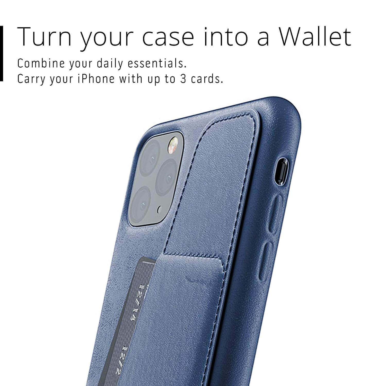 Mujjo Leather Wallet Case — кожен (естествена кожа) кейс с джоб за кредитна карта за iPhone 11 Pro Max (син) - 4