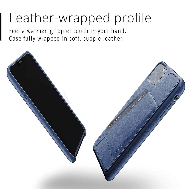 Mujjo Leather Wallet Case — кожен (естествена кожа) кейс с джоб за кредитна карта за iPhone 11 Pro Max (син) - 2