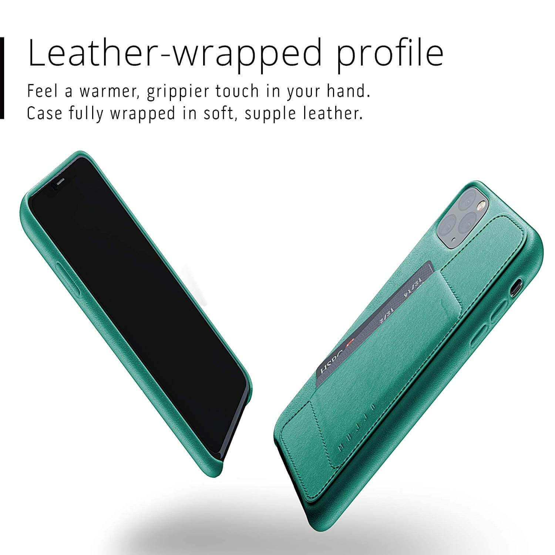Mujjo Leather Wallet Case — кожен (естествена кожа) кейс с джоб за кредитна карта за iPhone 11 Pro Max (зелен) - 2