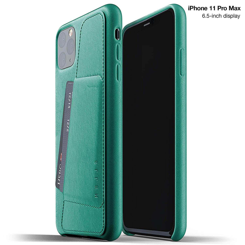 Mujjo Leather Wallet Case — кожен (естествена кожа) кейс с джоб за кредитна карта за iPhone 11 Pro Max (зелен) - 1