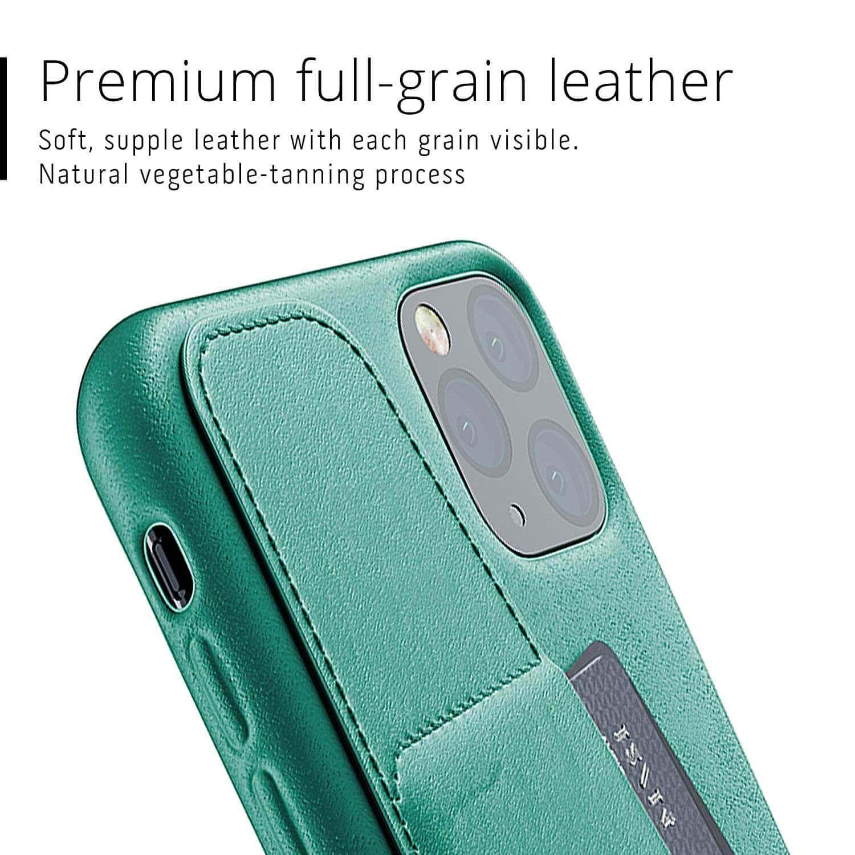 Mujjo Leather Wallet Case — кожен (естествена кожа) кейс с джоб за кредитна карта за iPhone 11 Pro Max (зелен) - 5