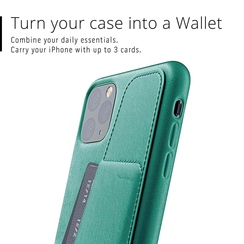 Mujjo Leather Wallet Case — кожен (естествена кожа) кейс с джоб за кредитна карта за iPhone 11 Pro Max (зелен) - 4