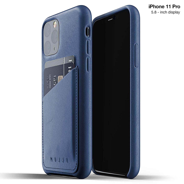 Mujjo Leather Wallet Case — кожен (естествена кожа) кейс с джоб за кредитна карта за iPhone 11 Pro (син) - 1