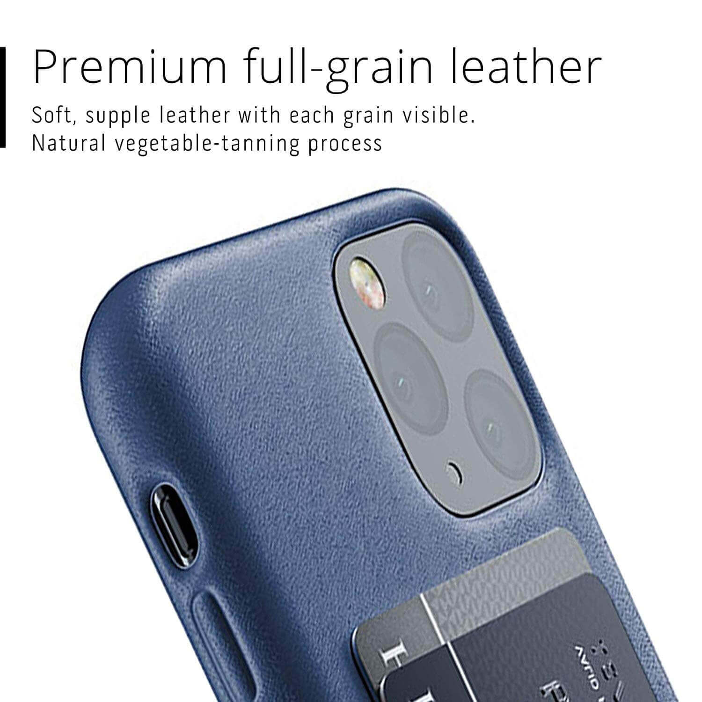 Mujjo Leather Wallet Case — кожен (естествена кожа) кейс с джоб за кредитна карта за iPhone 11 Pro (син) - 4
