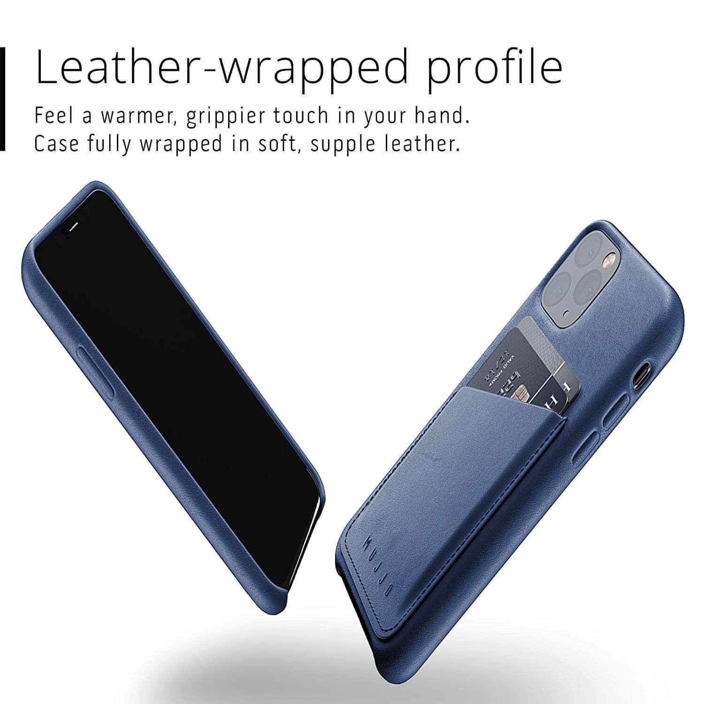 Mujjo Leather Wallet Case — кожен (естествена кожа) кейс с джоб за кредитна карта за iPhone 11 Pro (син) - 2