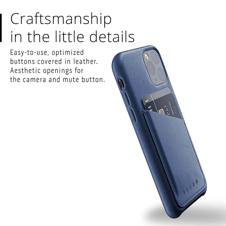 Mujjo Leather Wallet Case — кожен (естествена кожа) кейс с джоб за кредитна карта за iPhone 11 Pro (син) - 5