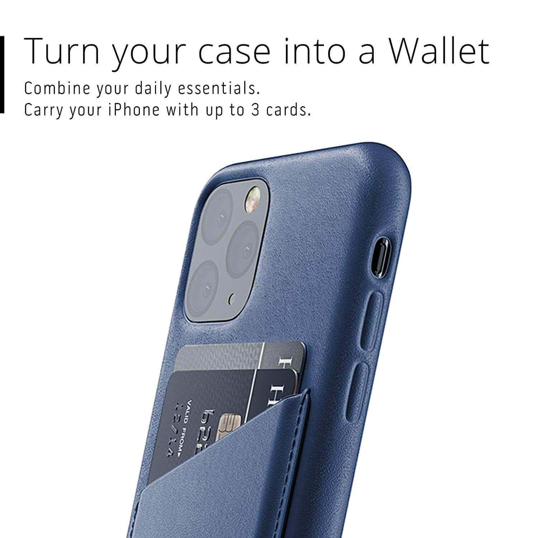 Mujjo Leather Wallet Case — кожен (естествена кожа) кейс с джоб за кредитна карта за iPhone 11 Pro (син) - 3