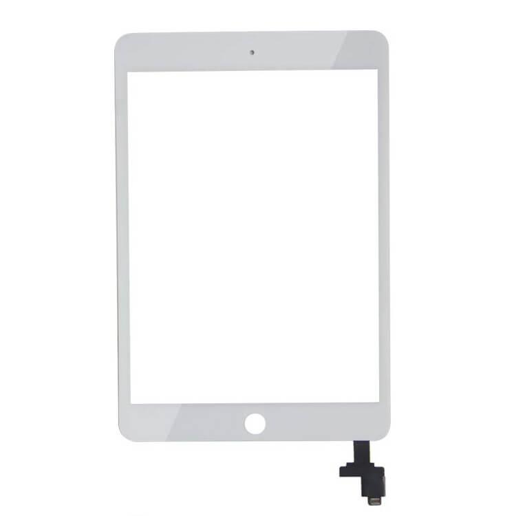 OEM iPad Mini 3 Touch Screen Digitizer with Home button — резервен дигитайзер (тъч скриийн) с външно стъкло за iPad Mini 3 (бял) - 1