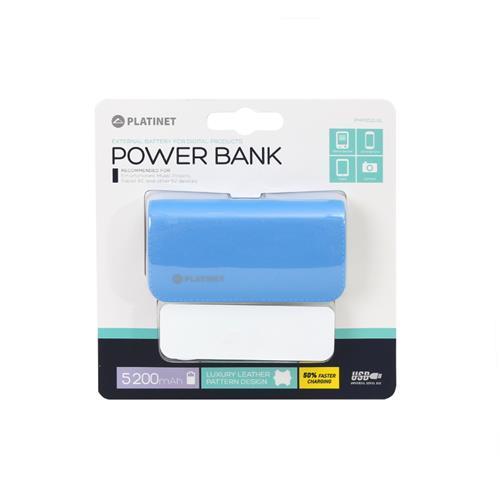 Platinet Power Bank Leather 5200 mAh — външна батерия с 2 USB изходa за таблети и смартфони (син) - 4