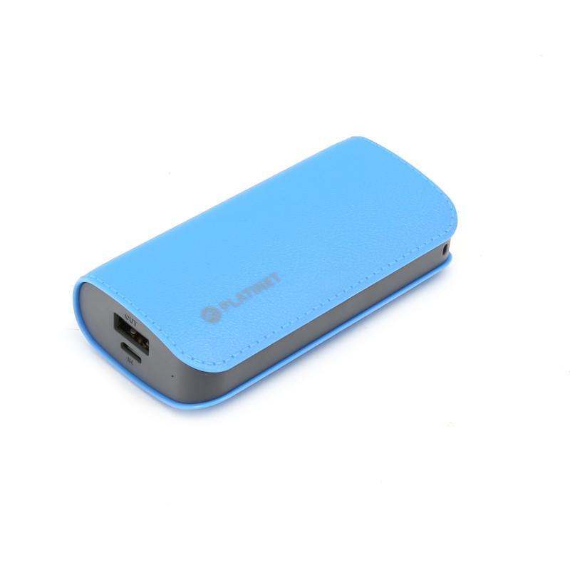 Platinet Power Bank Leather 5200 mAh — външна батерия с 2 USB изходa за таблети и смартфони (син) - 1