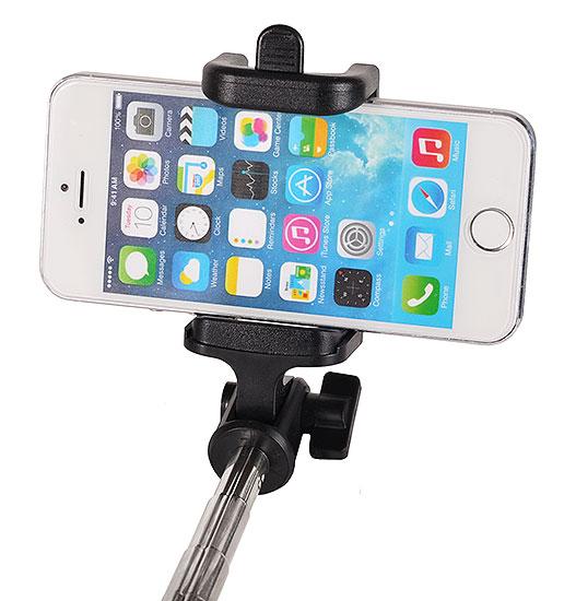 Разтегателен безжичен селфи стик с вграден Bluetooth бутон за снимки за мобилни телефони с Android и iOS (черен-златист) - 2