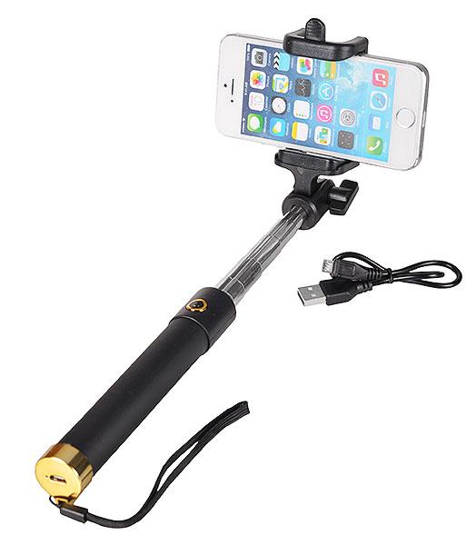 Разтегателен безжичен селфи стик с вграден Bluetooth бутон за снимки за мобилни телефони с Android и iOS (черен-златист) - 1